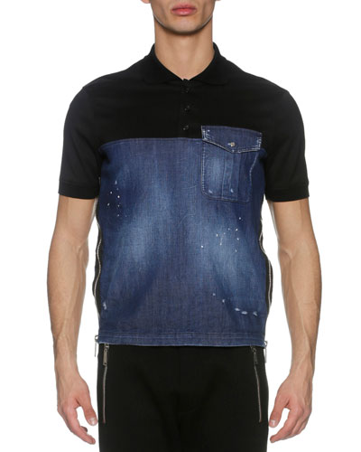 Denim & Pique Side-Zip Polo Shirt, Blue