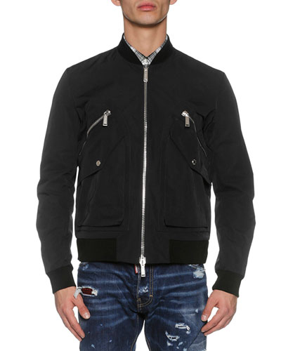 Four-Pocket Bomber Jacket, Black