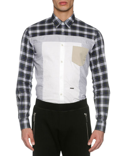 Mixed-Plaid Cotton Shirt, Blue