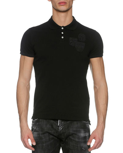 Pique Polo Shirt with Military Patches, Black