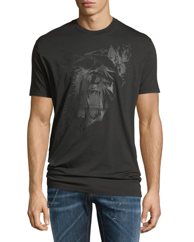 Tonal Bear-Print Cotton T-Shirt