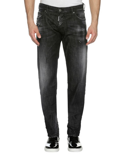 Faded Denim Slim Jeans, Soft Night (Black)
