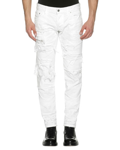 Distressed Denim Slim Jeans, Strapped (White)