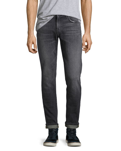 Tyler Taper-Fit Comfort Stretch Jeans, Medium Gray