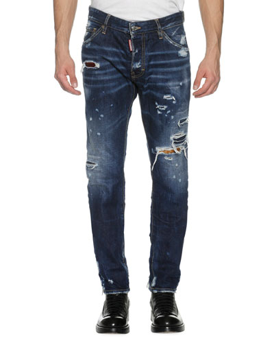 Cool Guy Distressed Denim Skinny Jeans, Wild Mountain (Blue)