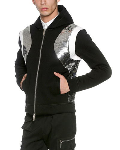 Sequined Neoprene Zip-Front Hoodie, Black