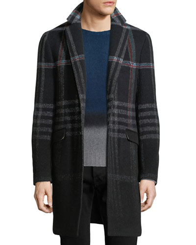 Plaid Wool-Blend Single-Breasted Coat