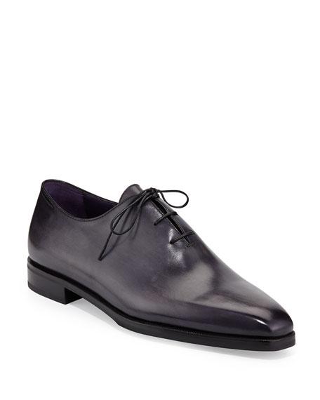 Berluti Alessandro Demesure Leather Oxford, Leather Sole, Black