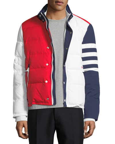 Tricolor Puffer Jacket with 4-Bar Stripes, Red/White/Blue