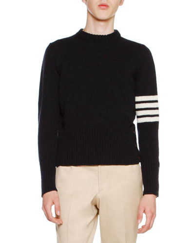Wool Tweed Crewneck Sweater with 4-Bar Stripes, Navy