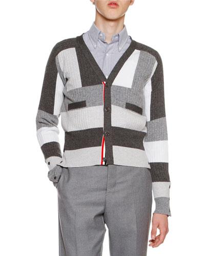 Geometric Cashmere Cardigan, Gray