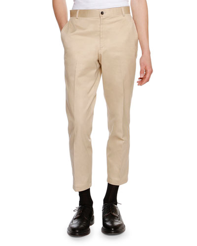 Cropped Twill Chino Pants, Khaki