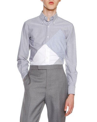 Pieced-Square Cotton Oxford Shirt, Navy