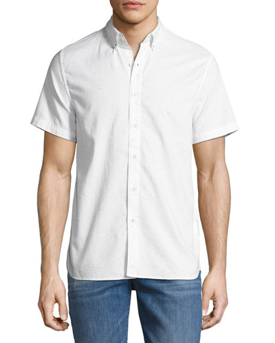 Henry Short-Sleeve Slub Shirt, Light Gray