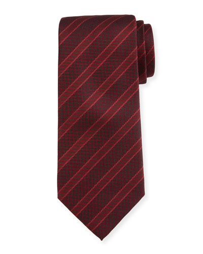Wide-Stripe Silk Tie, Red