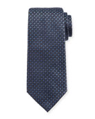 Mini-Cross Medallion Silk Tie, Blue