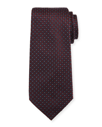 Mini-Cross Medallion Silk Tie, Red