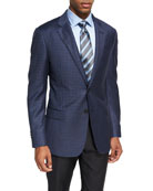 Check Wool Sport Coat, Light Blue/Brown
