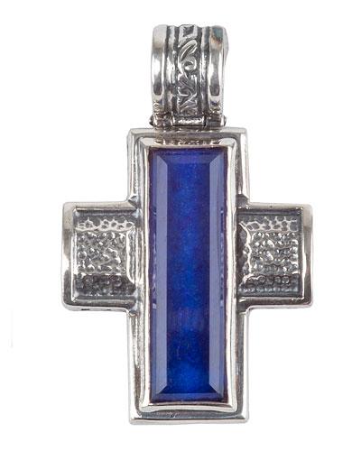 Men's Hephaestus Sterling Silver & Lapis Cross Pendant