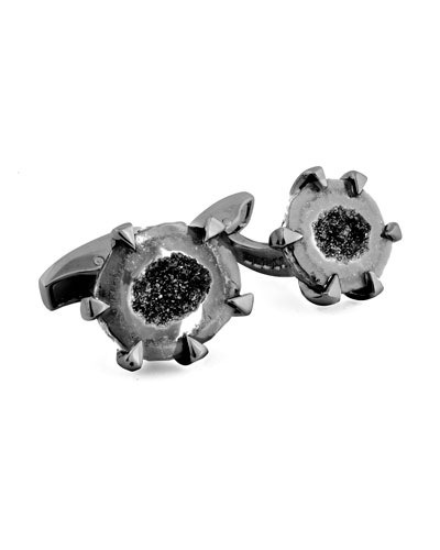 Geode Sterling Silver Cuff Links