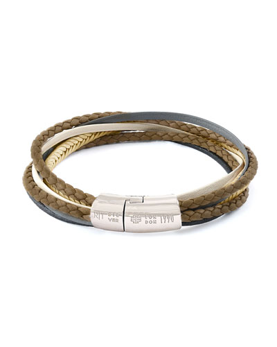 Men's Multi-Strand Leather Cobra Bracelet, Stone
