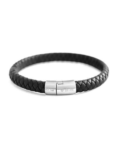Cobra Men's Braided Leather Bracelet, Black