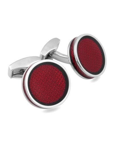 TATEOSSIAN Round Tablet Ice Cufflink in Red