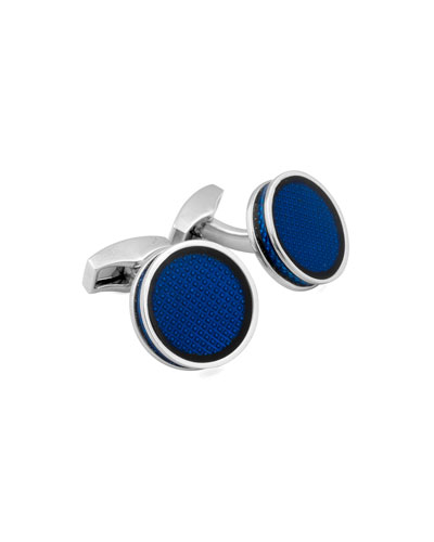 Round Tablet Ice Cuff Links, Blue