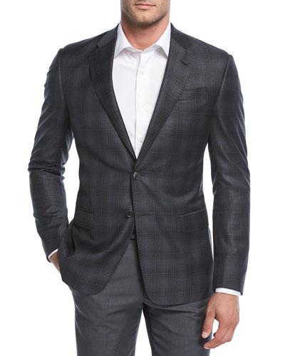 Degrade Plaid Wool Sport Coat