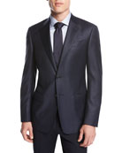 Small-Check Wool Two-Button Sport Coat, Navy