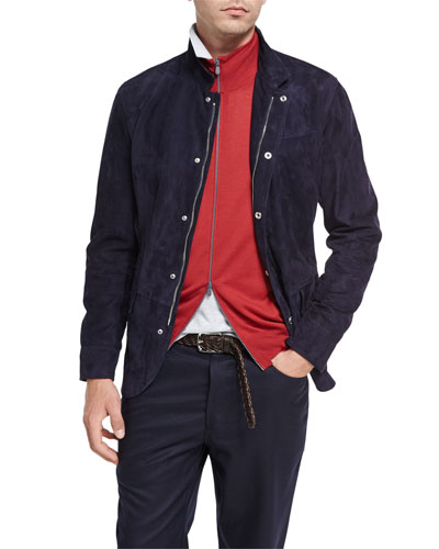 Lamb Suede Jacket, Navy