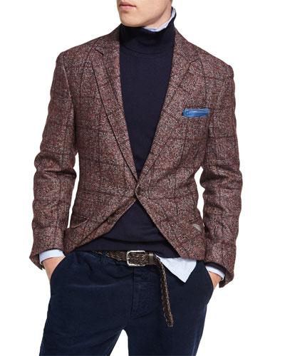 Plaid Alpaca-Wool Sport Jacket, Red