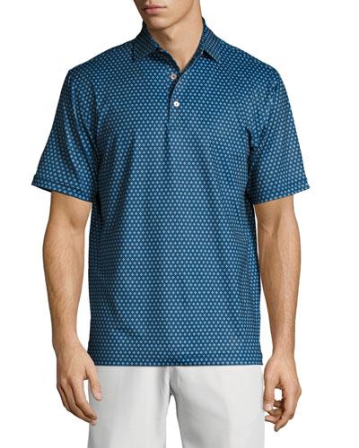 Crown Sport Bruce Dot-Print Performance Polo Shirt, Dark Blue