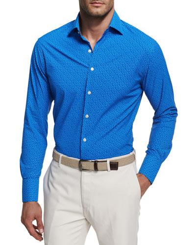 Crown Sport Kix Star-Print Performance Sport Shirt, Blue