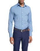 Crown Sport Honeycomb Glen Plaid Performance Sport Shirt, Dark Blue