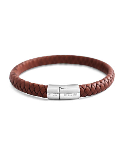 Cobra Men's Braided Leather Bracelet, Medium Brown