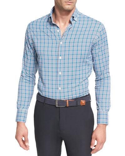 Crown Sport Crispy Check Performance Shirt, Dark Blue