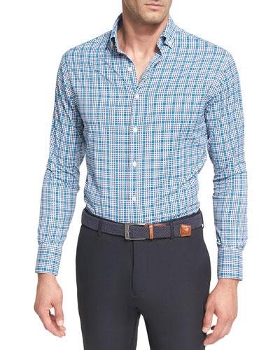Crown Sport Crispy Check Performance Shirt, Dark Blue