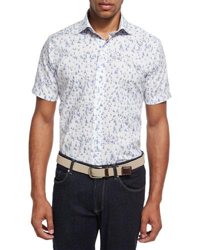 Collection Smooth Sailin' Short-Sleeve Sport Shirt, Dark Blue/White