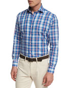 Collection Pianosa Plaid Sport Shirt, Dark Blue