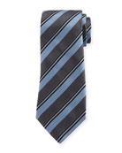 Wide Rep Stripe Silk Tie, Light Blue