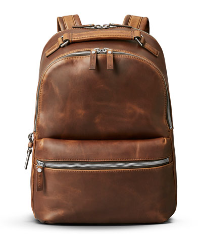 Runwell Leather Backpack, Medium Brown