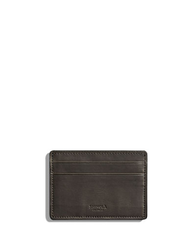 Six-Pocket Leather Card Case, Medium Brown