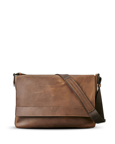 East-West Leather Messenger Bag, Medium Brown