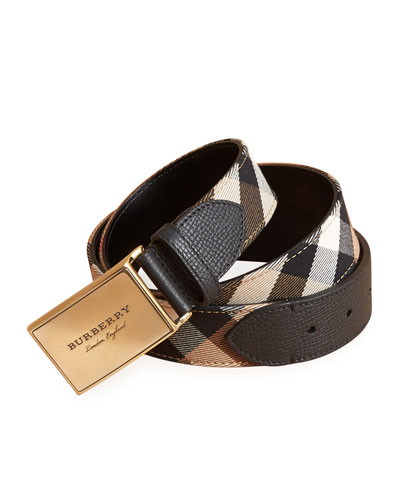 George Check Cotton & Leather Belt, Black