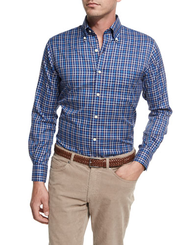 NanoLuxe Pinwheel Plaid Sport Shirt, Navy