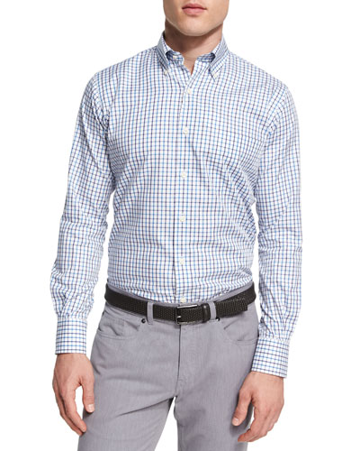 Crown Wellington Tattersall Sport Shirt, Blue