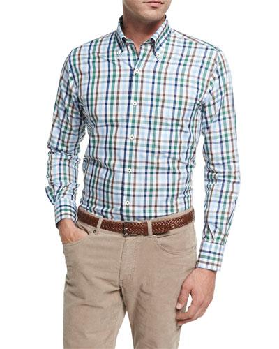Crown Trail Check Sport Shirt, Green