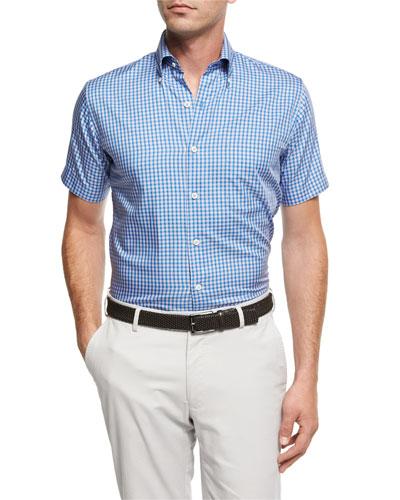 Crown Soft Check Short-Sleeve Cotton Sport Shirt, Blue
