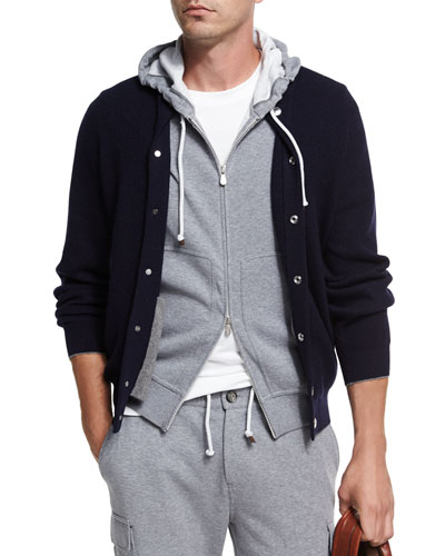Cashmere Ribbed Baseball Cardigan, Navy